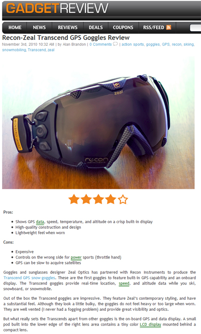 Hands-on review of Recon-Zeal GPS goggles