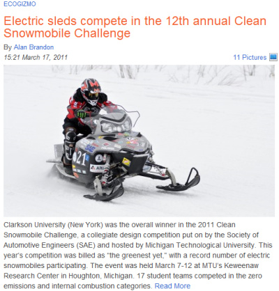 Clean Snowmobile Challenge