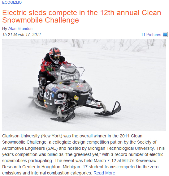 Clean Snowmobile Challenge article on Gizmag.com